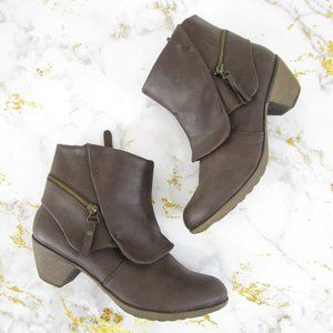 Nine West Brown Faux Vegan Leather Ankle Booties